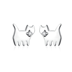 Earrings Womens Silver Cat And Dog Stud Earrings Silver