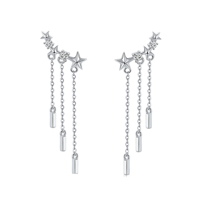 Earrings Womens Silver Star Drop Earrings Silver