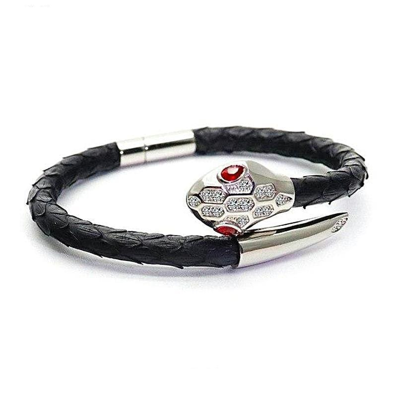 Royal Silver Exotic Luxury Gucci Style Leather Bracelet