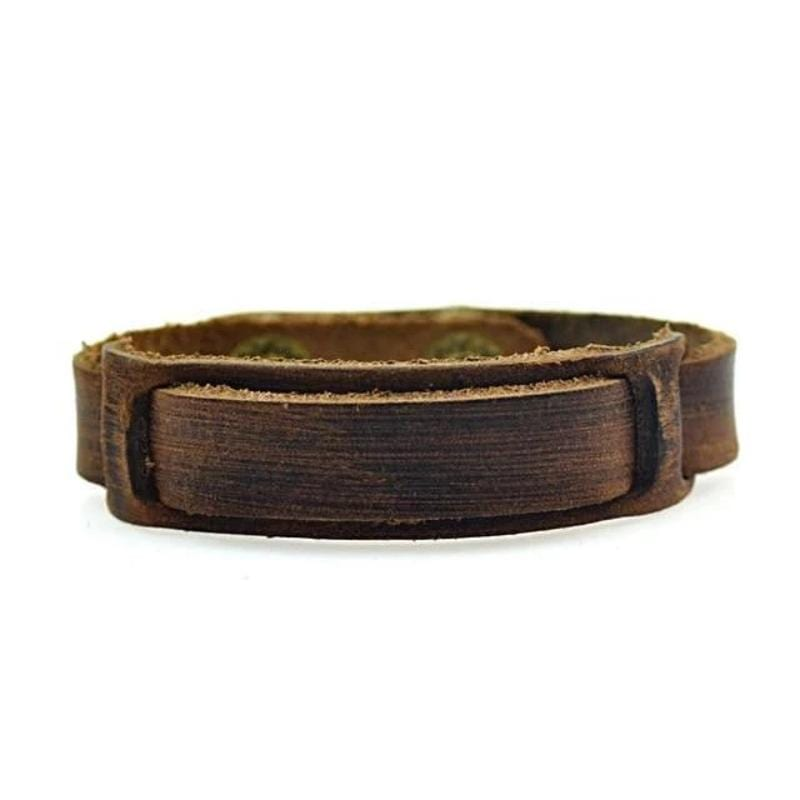 Leather Bracelets Classic Mens Rustic Leather Bracelets 1/2in / Brown
