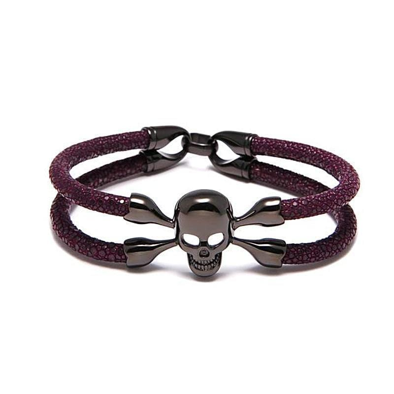 Mens Leather Bracelet Exotic Leather Purple Mens Leather Bracelet Purple / 18cm