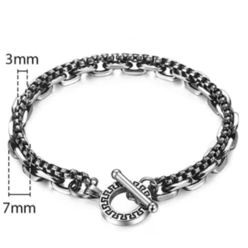 Mens Stainless Steel Bracelets Silver And Black Tribal Clasp Link Mens Stainless Steel Bracelets 20cm / Silver/Black