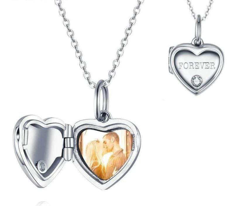 Necklace Classic Heart Shaped Photo Necklace Silver