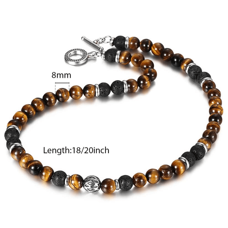 Necklaces Mens Tigers Eye Beaded Necklace Brown / 18inch