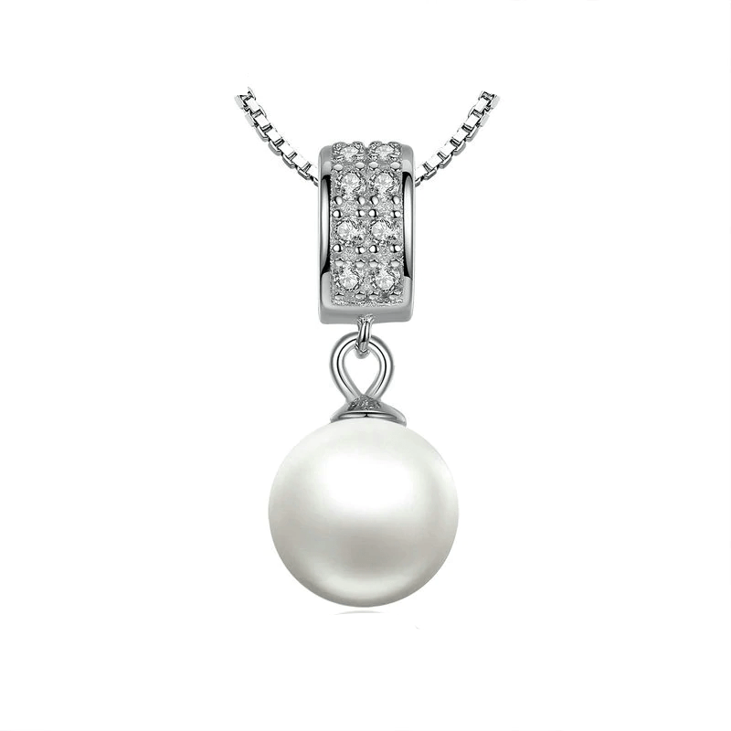 Necklaces Womens Cubic Zirconia Pearl Necklace Silver