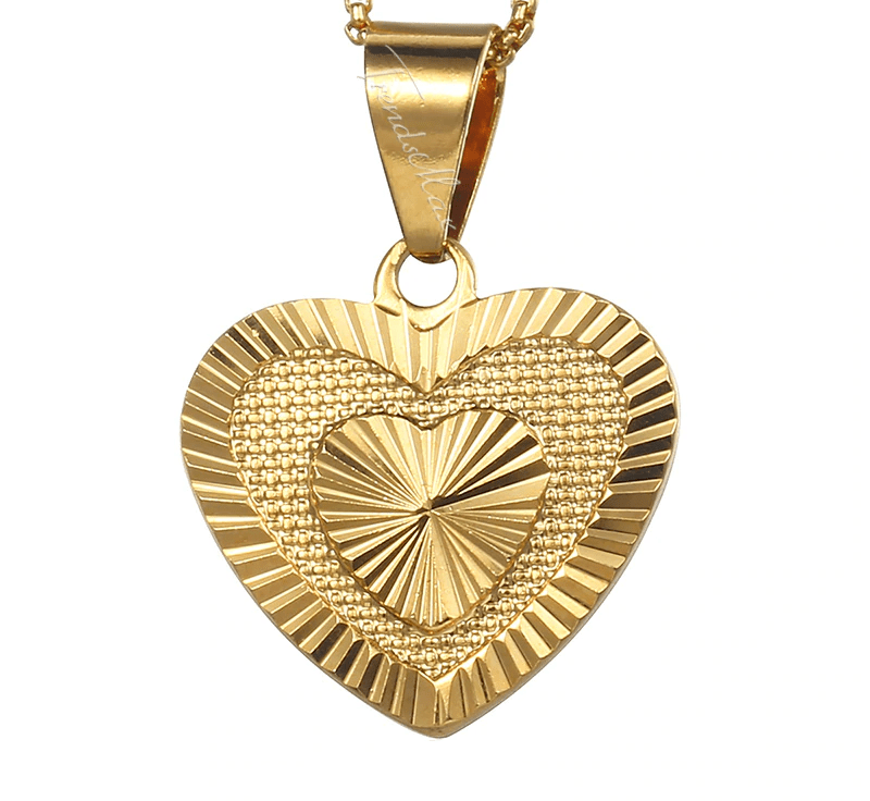 Necklaces Womens Gold Heart Pendant Necklace 45cm / Gold