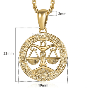 Necklaces Womens Gold Libra Pendant Necklace 18 inch / Gold