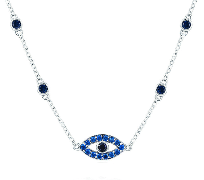 Necklaces Womens Pave' Stone Evil Eye Necklace Silver / 36-45 cm