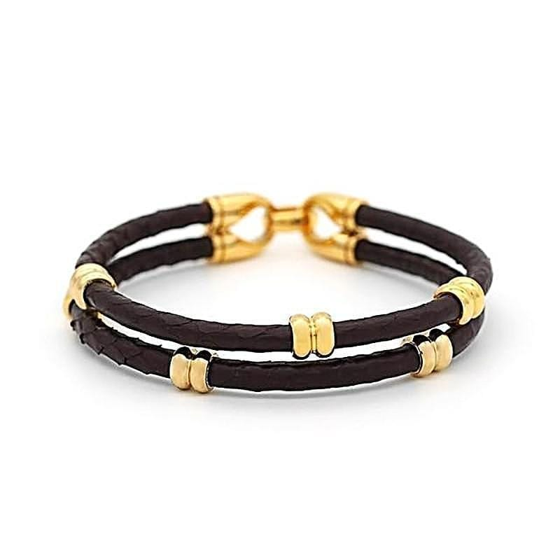 Womens Bracelets Classic Double Band Exotic Luxury Leather Bracelets Coffee / 18cm