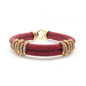 Womens Bracelets Rose Red Studded Exotic Luxury Leather Womens Bracelet