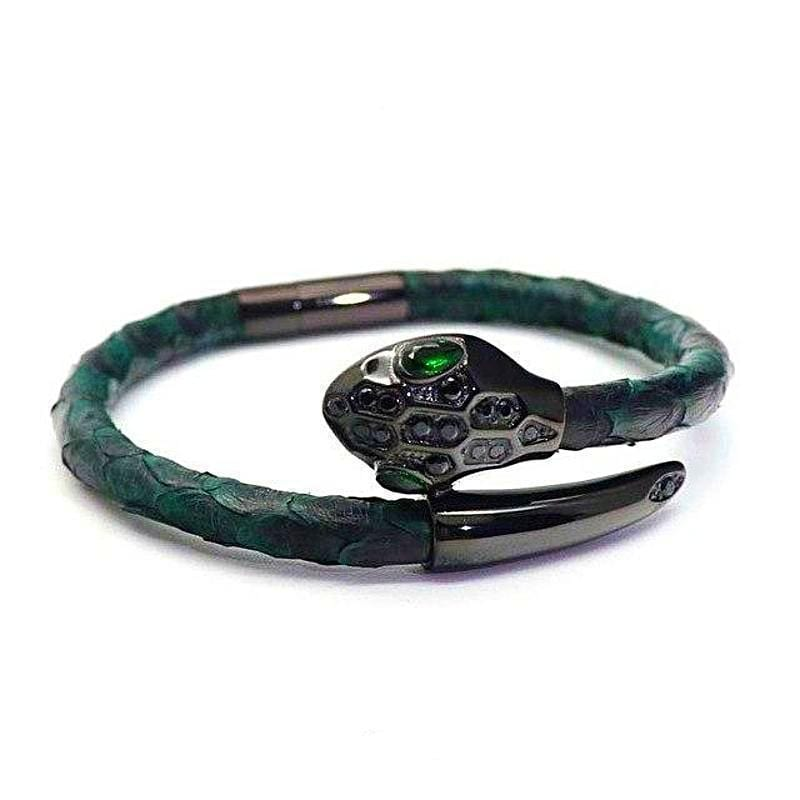 Womens Bracelets Royal Green Exotic Luxury Leather Womens Bracelets Green/Black / 17cm