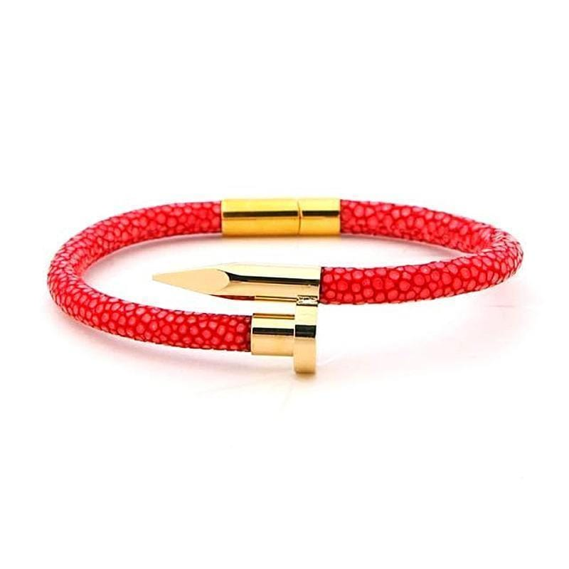 Valiant Cartier Style Exotic Luxury Leather Womens Nail Bracelets