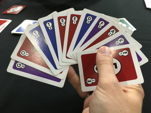 A rare example of being able to spell three words while using all the cards in your hand.