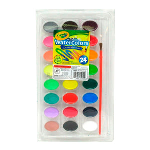53-0524 (Crayola) - Pintura Acuarelable (lavable): 24 ct. Pans with Plastic Handled Brush