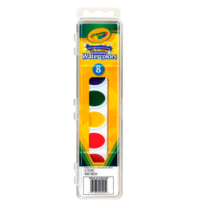 53-0525 (Crayola) - Pintura Acuarelable (lavable): 8 ct. Pans with Plastic Handled Brush