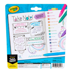 TAKE NOTE - Bolígrafos Lavables Gel de 14 colores - Crayola - 58-6414