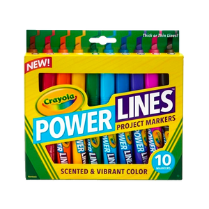 10 Washable Scented Power Lines Markers 58-8194