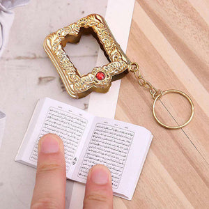 Mini pocket Quran keychain (with real paper) with golden case