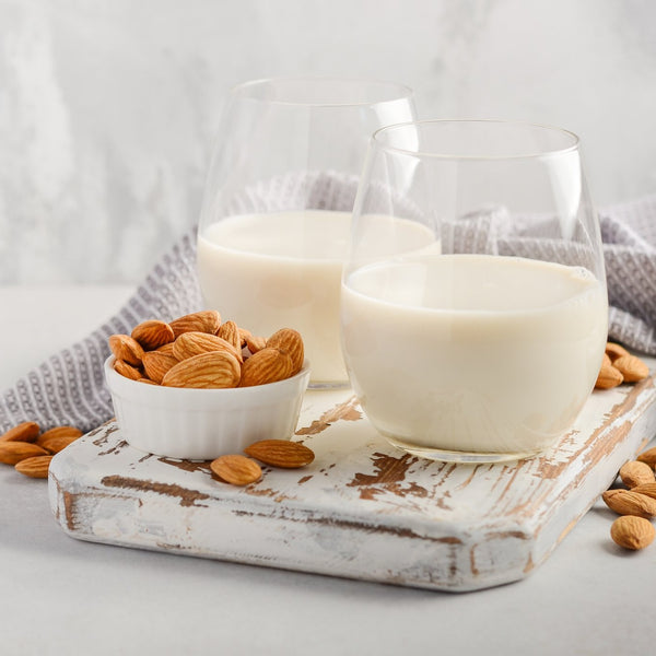 Almond milk in two glasses