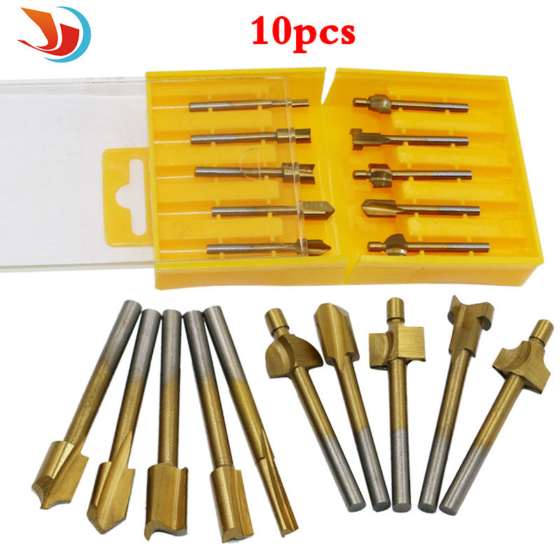 10pcs 1 8 Hss Titanium Coated Woodworking Router Bits Wood Cutter