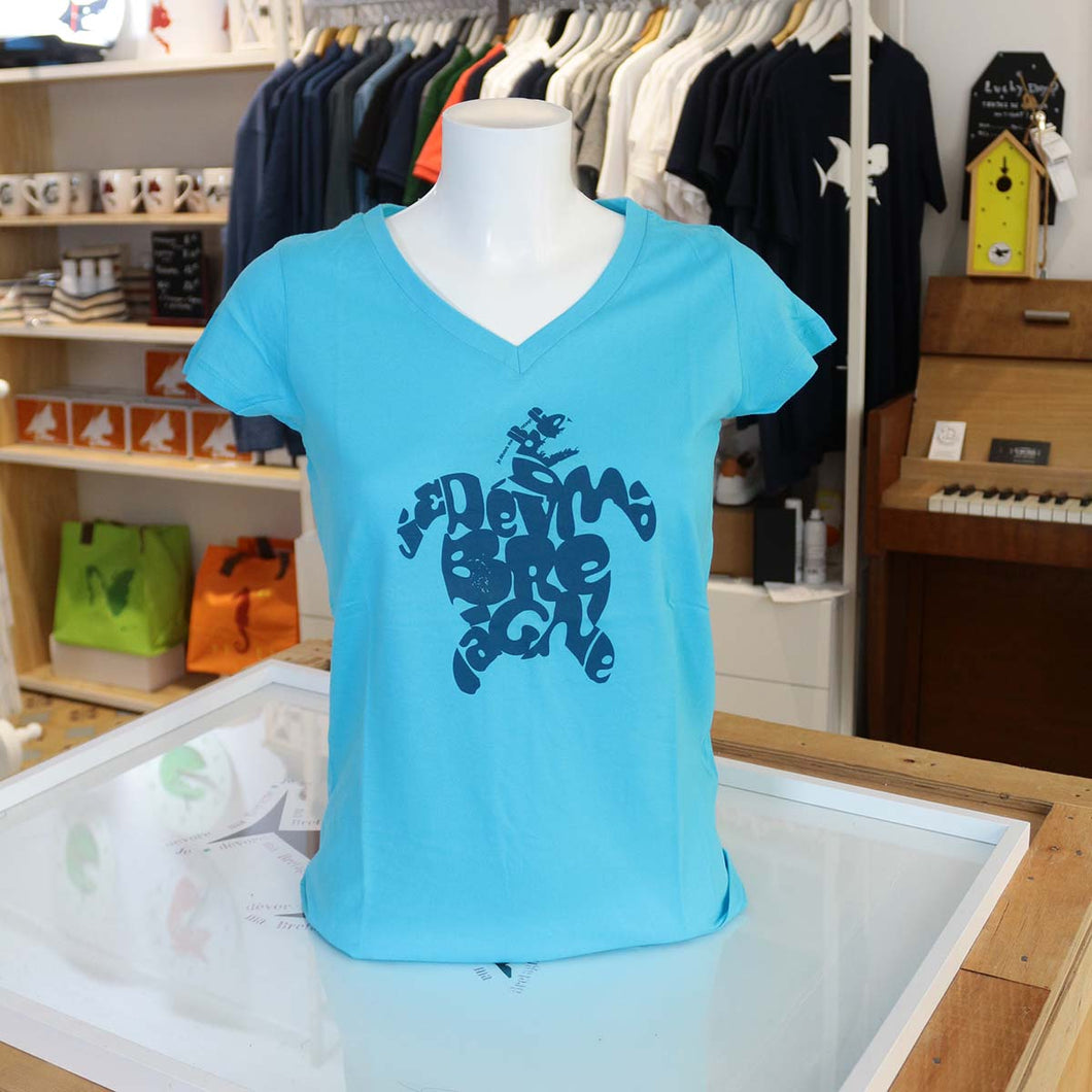 T-Shirt Turquoise - Tortue Typo Bleue - Femme