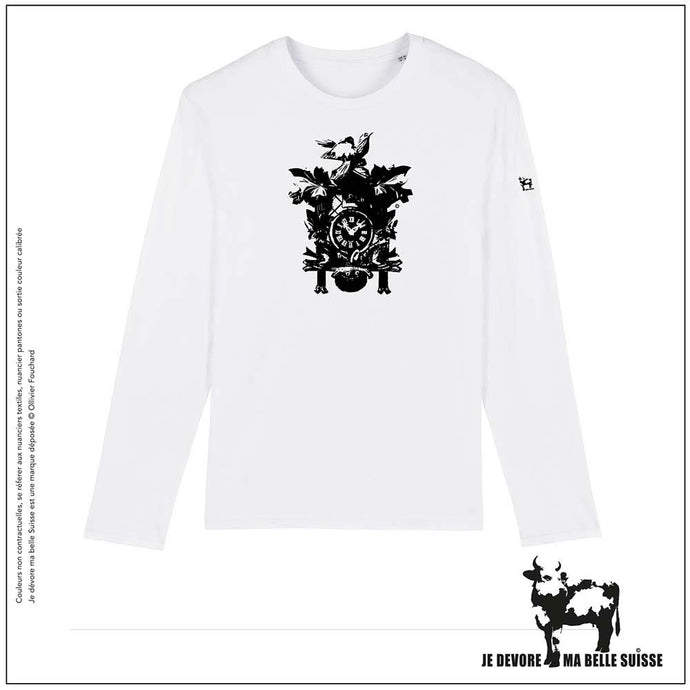 Tee shirt Homme blanc manches longues Coucou JDMB Suisse