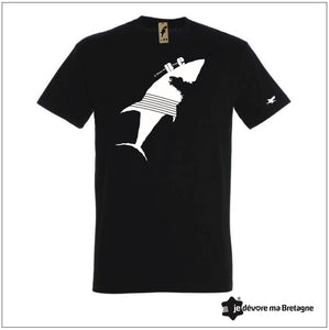 T-shirt noir Requin blanc
