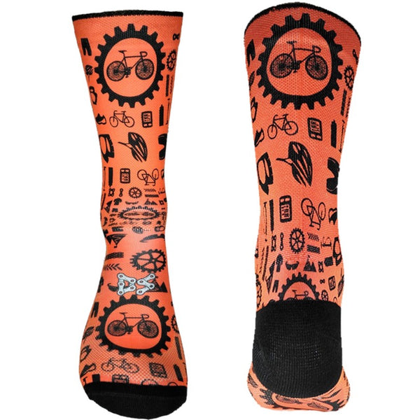 Doppio Slavo - Bike Parts Orange Socks - TerraVenture MTB Ltd