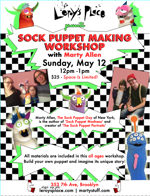 Sock Puppet Making Mothers Day at Leroy's Place!