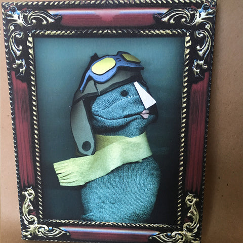 Sock Puppet Portrait of Amelia Earhart on Canvas