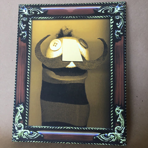 Sock Puppet Portrait of The Baron Claudius Von Cudgel on Canvas