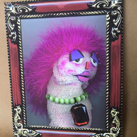 Sock Puppet Portrait of Lillith Lollybottom on Canvas