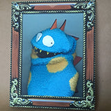 Sock Puppet Portrait of Spot the Dinosaur on Canvas