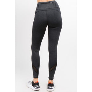 Mesh-Panel  Leggings W/ Zipper Pocket