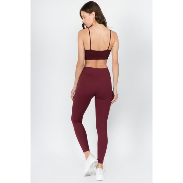 Wine Red Shift Active Leggings