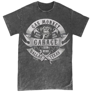 Official Gas Monkey Garage Wrenches & Banners Black Overdye T-Shirt