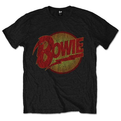 Official Bowie Vintage Diamond Dogs Logo Black Printed T-Shirt