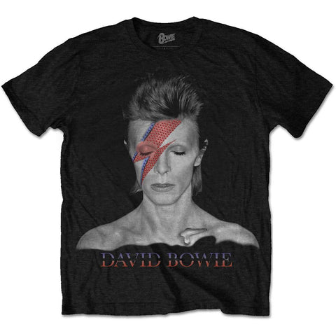 Official David Bowie - Aladdin Sane Black Printed T-Shirt