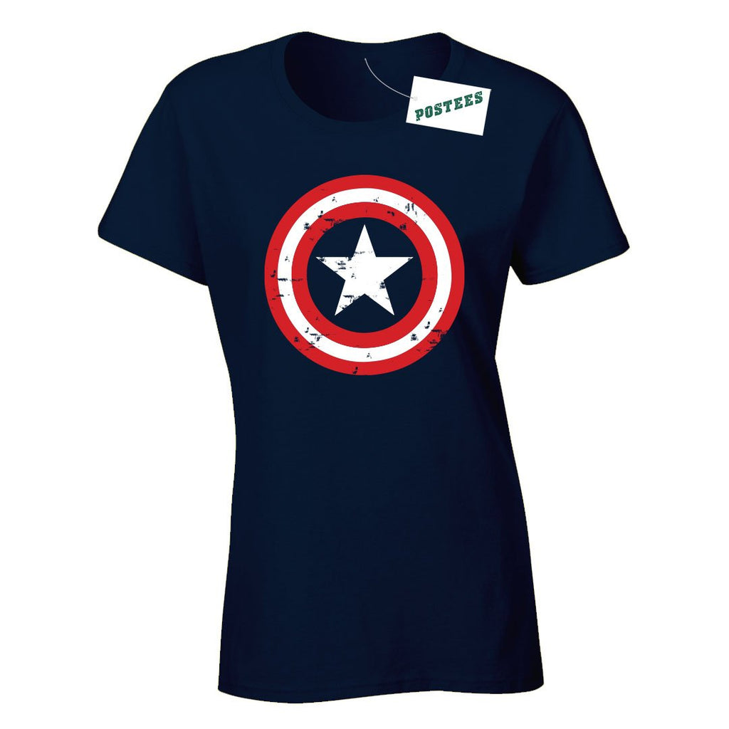 Captain America Shield Inspired Ladyfit T-Shirt - Postees