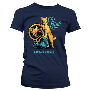 Official Captain Marvel Fly High Ladyfit T-Shirt - Postees