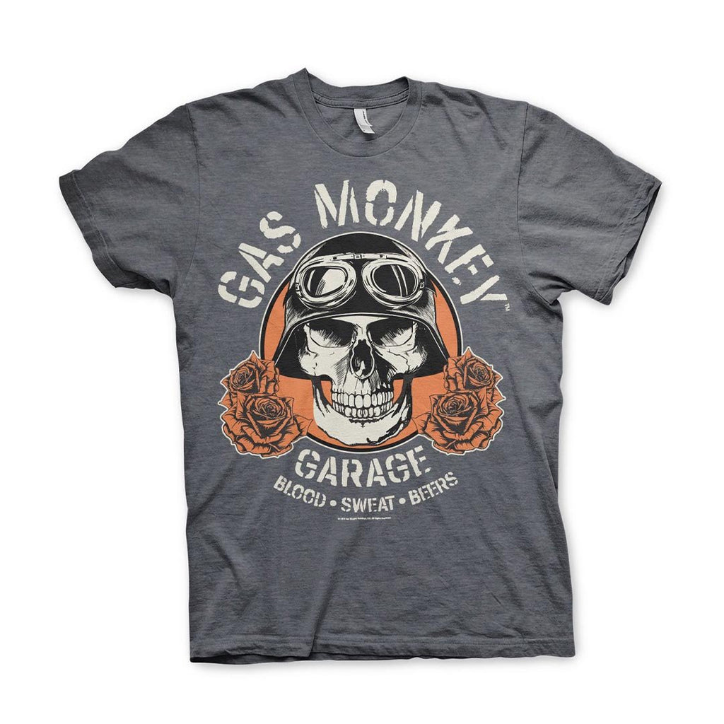 Official Gas Monkey Garage Skull Dark Heather T-Shirt - Postees