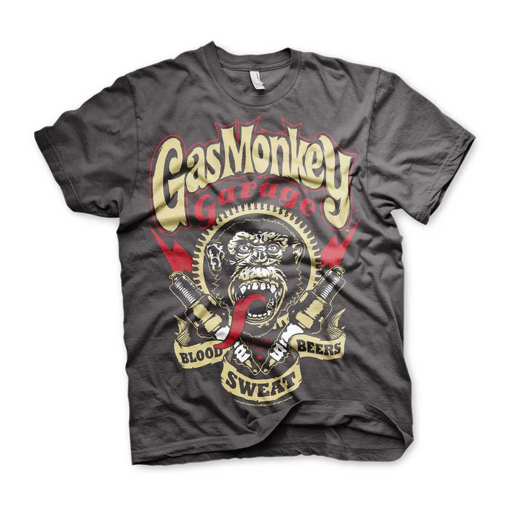 Official Gas Monkey Garage Spark Plugs Dark Grey T-Shirt