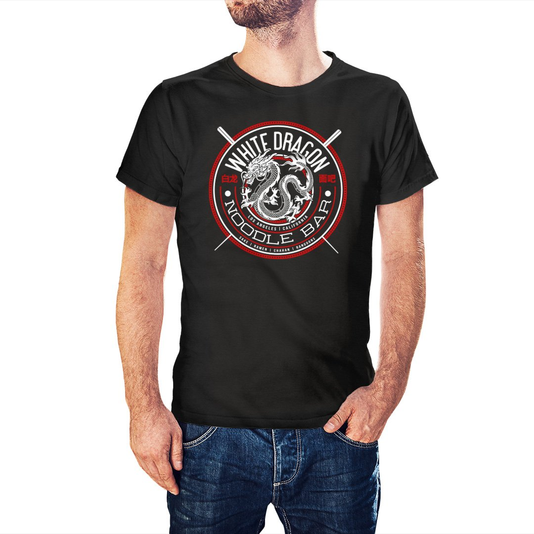 Blade Runner Inspired White Dragon Noodle Bar T-Shirt - Postees