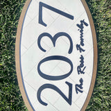 Address Sign - Framed Oval with Herringbone Background
