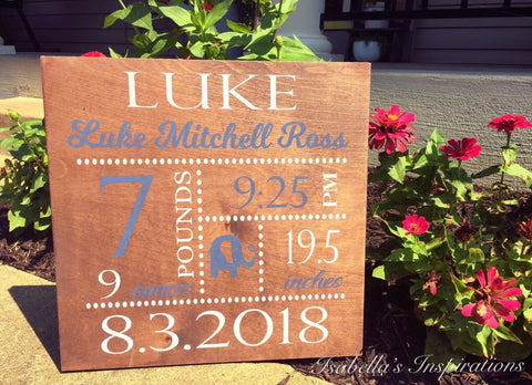 "Personalized Baby Sign -- Customized for Boy or Girl -- 16""x16"" Wooden Sign"