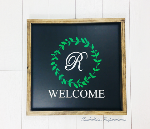 "Welcome with a Personalized Initial -- 16""x16"" Wooden Sign"
