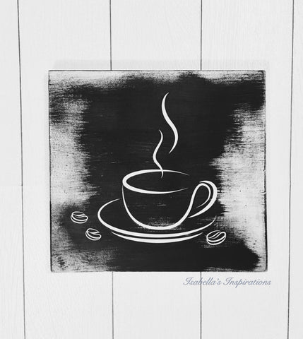 "Coffee Cup Graphic -- 12""x12"" Wooden Shelf Sitter Sign"