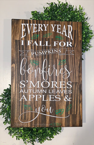 "Every Year I Fall for You -- 24""x16"" Wooden Sign"