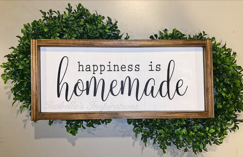 "Happiness is Homemade -- 10""x20"" Wooden Sign"