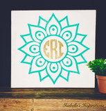"Monogram Personalized Flower -- 12""x12"" Wooden Shelf Sitter Sign"